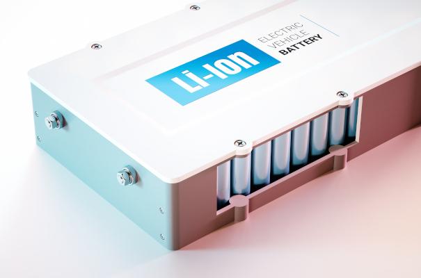 Eine gerendertes beispiel für ein Li-Ion Akkupack für Elecktronische Fahrzeuge.