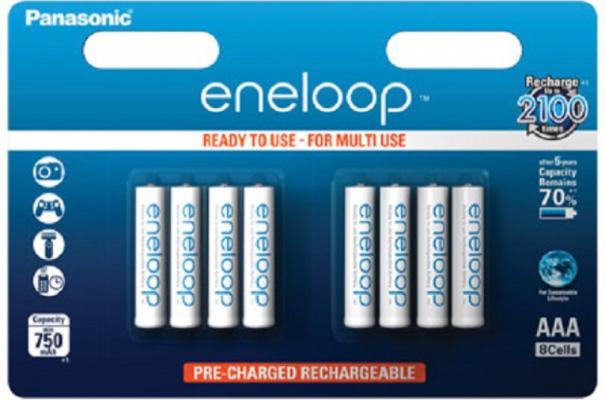 Eine Packung AAA Standard Batterien von Eneloop.